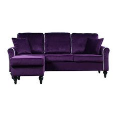 Divano Roma Furniture - Traditional Small Space Velvet Sectional Sofa with Reversible Chaise, Purple - Sectional Sofas