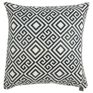 Meander Metallic Cushion Cover, White and Black