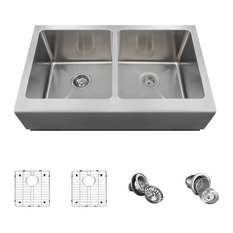 Double Equal Bowl Stainless Steel Apron Sink, Ensemble
