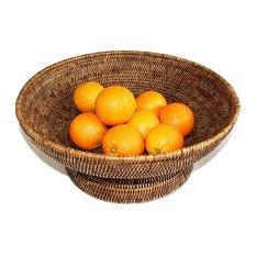 """Rattan Large Round Fruit Pedestal Basket 17"""""""
