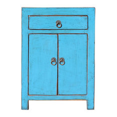 Distressed Pastel Bright Blue Lacquer Drawer End Table Nightstand Hcs5399