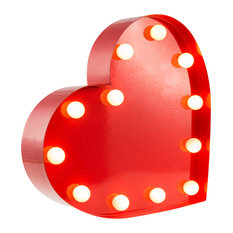 Heart Table Lamp, Red, Small