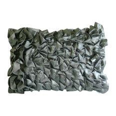 Vintage Grey Ruffles Satin Lumbar Cushion Cover, 30x40 cm