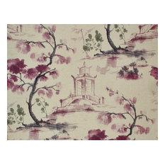 Oriental Toile Fabric Purple Ink Wash Painting Literati Pagoda, Standard Cut