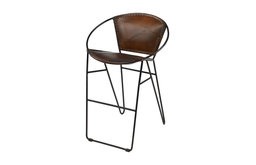 Leather Bar Stool With Geometric Iron Frame & Footrest