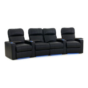 Octane Turbo XL700 Row of 4 Curved/Loveseat Power Recline Black Bonded Leather