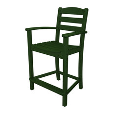 POLYWOOD La Casa Cafe Counter Arm Chair, Green