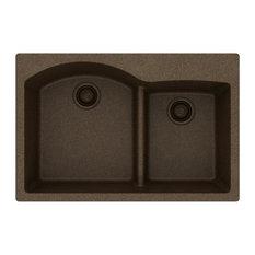 "Elkay ELGH3322RMC0 Quartz 33"" Double Bowl Drop-In Sink With Aqua Divide, Mocha"