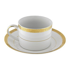 Luxor Gold Can Cup and Saucer, Set of 6