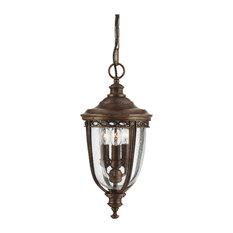 English Bridle 3-Light Outdoor Hanging Light, British Bronze, Small