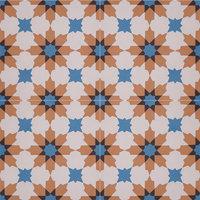 Ahfir Handmade Cement Tile, Orange, Blue, Black, Set of 12