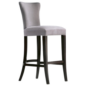 Contemporary Padded Kitchen Stool With Grey Upholstery