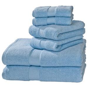 Growers Collection Pima Cotton 6-Piece Towel Set, Sky Blue