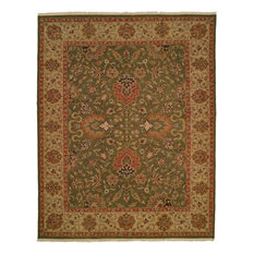 Soumak Flatweave Hand-Knotted Rug, Sage and Gold, 6'x9'