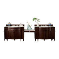 """Brittany 118"""" Double Vanity Mahogany Makeup Table, 3 cm Arctic Fall Top"""