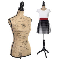 Costway Female Mannequin Torso Dress Form Display W/ Black Tripod Stand New