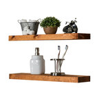 True Floating Shelves, Set of 2, Walnut, 24""