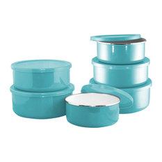 Reston Lloyd - Calypso Basics, 6-Piece Enamel on Steel Bowl Set, Turquoise - Food Storage Containers