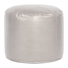 Howard Elliott Tall Pouf Ottoman, Mercury