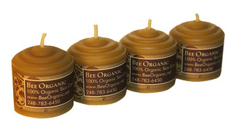 2 Oz. Bee Organic 100% Organic Beeswax Votive Candles, Set of 4