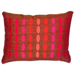 M Deco / Mode Cast Design - Embroidered Decorative Pillow, Coral - Luxury Lumbar Pillow with Embroidered Artwork.