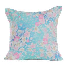 Aqua Blue Floral Print Throw Pillow