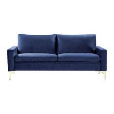 Ultra Modern Sofa, High Density Foam Padding With Velvet Upholstery, Dark Blue