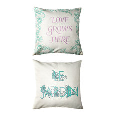 Le Jardine French/Love Grows Indoor Outdoor Doublesided Pillow With Butterfly Pi