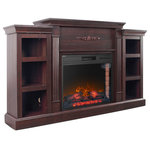 Della - Electric Wood Fireplace Mantel Flame Heater With Remote, Wood - Illuminate your decor with this infrared electric fireplace. Classical woodworking flourishes across the mantel and bookshelves; ample storage awaits reading materials, media accessories, or pottery. Traditional styling combines with Mission inspired accents to ignite your senses with this infrared electric fireplace in a living room, dining room, or parlor. Energy efficient, fan-forced quartz infrared heat distributes evenly to quickly warm up to 400 square feet.