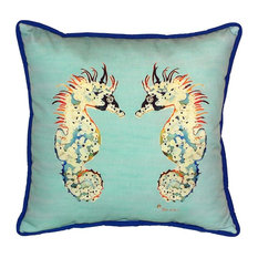 Betsy's Sea Hourse, Teal, Large Outdoor Pillow
