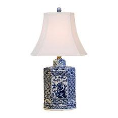 Lattice Porcelain Jar Table Lamp, Blue and White