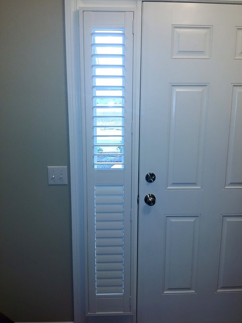 sidelight front door window treatments using shutters