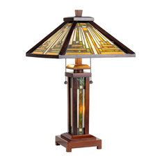 """Innes  3-Light Mission Double Lit Wooden Table Lamp 15"""" Shade"""