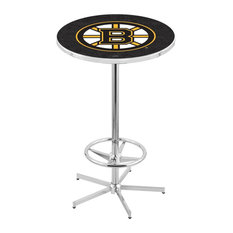 L216 - 42-inch Chrome Boston Bruins Pub Table By Holland Bar Stool Co.