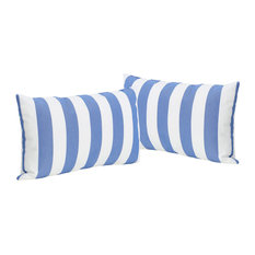 GDF Studio Coronado Outdoor Stripe Rectangular Pillow, Blue, Set of 2