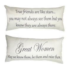 True Friends Great Women Quote Ivory Double Sided Friendship Pillow