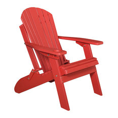 Furniture Barn USA   Poly Basic Folding Adirondack Chair With Cup Holder,  Bright Red