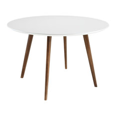 Round Dining Table with Tapered Ash Wood Legs, White