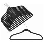"""OnlyHangers - Slim-Line Black Shirt or Pant Hanger, Set of 20 - Keep your clothing looking freshly laundered and pressed with these wonderful closet additions in your choice of black, platinum, camel, lavender or burgundy. The hangers sturdy construction helps preserve the shape of your clothes and keeps you looking professional around the clock. Prevent clothes from slipping with the soft, velvety surface of these useful hangers. Chrome tone hooks complement their attractive design. Their lightweight and ultra-thin design - just 1/4"""" wide - holds heavy winter coats as easily as spaghetti-strapped gowns."""