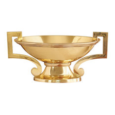 Gold Brass Mid Century Modern Centerpiece Bowl Loving Cup Handles Oval Compote