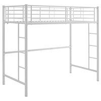 Modern Twin Size Loft Bed Frame, Powder Coated Steel, Dual Ladders, White