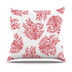 """Anchobee """"Coral"""" Red White Throw Pillow"""