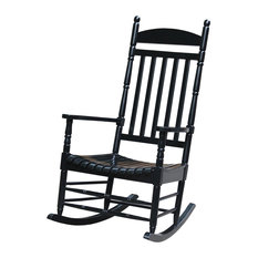 International Concepts   Porch Rocker, Turned Post, Solid Wood, Black   Outdoor  Rocking