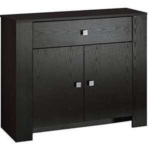 Modern Sideboard, Dark Brown Finished Wood With 2-Door and 1-Storage Drawer