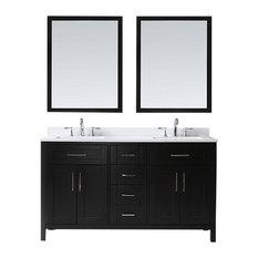 """Tahoe Double Vanity Set With Mirrors, 60"""", Espresso With Quartz Top"""