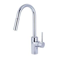 Motegi Single Handle High Arc Pull-Down Kitchen Faucet, Polished Chrome
