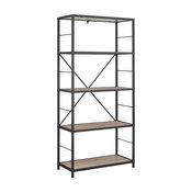 "60"" Rustic Metal and Wood Media Bookshelf, Driftwood"