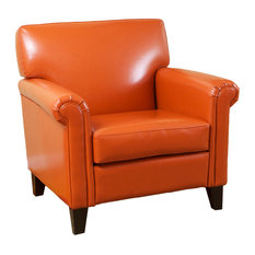 GDFStudio   Canton Orange Leather Club Chair   Armchairs And Accent Chairs