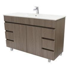 """Zeus 48"""" Standing Bathroom Vanity Cabinet Set With Single Sink, Estepa"""