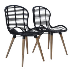 VidaXL 2x Dining Chairs Natural Rattan Black Dinner Kitchen Dining Room Chairs